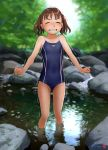 1girl blue_swimsuit breasts brown_hair clenched_teeth closed_eyes commentary_request competition_school_swimsuit forest highres mu-pyon nature original outdoors rock school_swimsuit short_hair small_breasts solo standing swimsuit teeth trembling twintails wading water