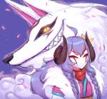 1girl ahoge alternate_costume alternate_hair_color alternate_hairstyle animal_ears cherry_blossoms curled_horns flower fur grin hair_flower hair_ornament highres horns japanese_clothes kindred lamb_(league_of_legends) league_of_legends long_hair long_sleeves looking_at_viewer mask nanumn open_mouth petals plum_blossoms purple_hair smile spirit_blossom_kindred twintails white_fur wolf wolf_(league_of_legends)