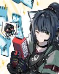 1girl 3o_c animal_ears arknights black_gloves black_hair black_shirt cat_ears eyebrows_visible_through_hair gloves green_eyes headset high_ponytail highres hood hood_down hooded_jacket jacket jessica_(arknights) long_hair one_eye_closed shirt solo upper_body