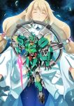 1girl beam_saber blonde_hair closed_eyes dress eve_(gundam_build_divers_re:rise) floating garimpeiro gundam gundam_build_divers gundam_build_divers_re:rise highres holding holding_sword holding_weapon long_hair looking_down mecha nepteight_gundam open_h open_mouth space sword very_long_hair weapon white_dress