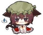 1girl animal_ears bangs blush bow bowtie brown_eyes brown_hair cat_ears cat_girl cat_tail chen chibi commentary_request dress earrings full_body green_headwear hair_between_eyes hat jewelry kawaii_rowa knees_up long_sleeves looking_at_viewer mob_cap multiple_tails no_bra nose_blush pleated_dress red_dress short_hair simple_background sitting solo spoken_sweatdrop sweatdrop tail touhou two_tails white_background white_bow white_legwear white_neckwear white_sleeves