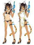 1girl animal_ears bikini black_bikini black_footwear bottle brown_hair china_dress chinese_clothes closed_mouth dress fang fang_out finger_on_trigger green_eyes hand_on_hip hand_up high_heels holding holding_water_gun kawakami_rokkaku leg_strap looking_at_viewer multiple_views original pelvic_curtain side-tie_bikini side_slit simple_background smile standing striped_tail swimsuit tail tan tanline tiger_ears tiger_girl_(kawakami_rokkaku) tiger_tail twintails water_bottle water_gun white_background