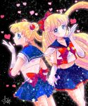 2girls aino_minako back_bow bangs bishoujo_senshi_sailor_moon black_background blonde_hair blown_kiss blue_eyes blue_sailor_collar blue_skirt bow bowtie choker closed_mouth collarbone cosplay cowboy_shot crescent crescent_earrings crop_top double_bun earrings elbow_gloves eyebrows_visible_through_hair floating_hair gloves hair_bow hair_ornament heart highres hoshikuzu_(milkyway792) jewelry long_hair midriff miniskirt multiple_girls navel pleated_skirt profile red_bow red_neckwear sailor_collar sailor_moon sailor_moon_(cosplay) sailor_senshi_uniform skirt smile standing stomach twintails very_long_hair white_choker white_gloves