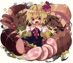 1girl black_dress blonde_hair blush_stickers commentary dress food hair_ribbon ham highres in_food looking_at_viewer nikorashi-ka open_mouth outstretched_arms oversized_food red_eyes red_neckwear red_ribbon ribbon rumia sharp_teeth shirt short_hair short_sleeves simple_background solo sparkle teeth tomato touhou white_background white_shirt