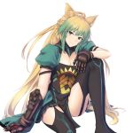1girl animal_ears atalanta_(fate) black_legwear blonde_hair enchuu_kakiemon eyebrows_visible_through_hair fate/apocrypha fate/grand_order fate_(series) gauntlets green_eyes green_hair highres long_hair looking_at_viewer multicolored_hair one_knee smile tail thigh-highs