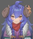 1girl :3 ahoge blue_hair blush bow closed_mouth face flower fur_trim grey_background hair_between_eyes hair_bow highres horn_flower horns kindred lamb_(league_of_legends) league_of_legends long_hair myomu orange_bow orange_flower red_eyes simple_background solo twitter_username upper_body