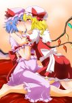 2girls ass bat_wings blonde_hair blush breasts commentary_request dress eyebrows_visible_through_hair flandre_scarlet frilled_dress frilled_hat frills hat highres hug kiss looking_at_another multiple_girls purple_hair red_dress red_eyes remilia_scarlet saliva shiny shiny_hair shiraue_yuu short_hair small_breasts sweat touhou wings yuri