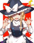 1girl alternate_eye_color apron artist_name blonde_hair bow braid claw_pose commentary_request cowboy_shot fangs frilled_apron frilled_hat frills hair_bow hair_ribbon hat hat_bow highres jill_07km juliet_sleeves kirisame_marisa long_sleeves looking_at_viewer paw_print puffy_sleeves red_eyes ribbon shadow single_braid sleeve_cuffs solo touhou turtleneck witch_hat