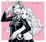 2girls ayakashi_triangle cardigan cellphone highres hug hug_from_behind kazakamiokenai multiple_girls partial_monochrome phone salute school_uniform smartphone toba_yayoi tsukioka_lucy