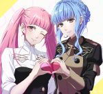 2girls blue_hair braid brown_eyes closed_mouth crown_braid fire_emblem fire_emblem:_three_houses garreg_mach_monastery_uniform heart heart_hands heart_hands_duo highres hilda_valentine_goneril long_hair long_sleeves marianne_von_edmund multiple_girls one_eye_closed pink_eyes pink_hair shinae smile twintails twitter_username uniform upper_body