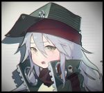 1girl black_border blurry blurry_background blurry_foreground border coat crying d: depth_of_field g11_(girls_frontline) girls_frontline green_coat grey_eyes grey_hair hat high_collar highres looking_at_viewer multicolored multicolored_eyes open_mouth solo tears waterkuma yellow_eyes