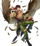1boy abs alternate_costume bandages belt boots bracelet brown_hair dagger drink feathered_wings feathers fire_emblem fire_emblem:_radiant_dawn fire_emblem_heroes full_body headband highres injury jewelry kita_senri necklace official_art pointy_ears scar solo teeth tibarn_(fire_emblem) torn_clothes transparent_background weapon wings yellow_eyes