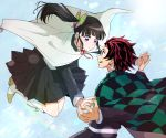 1boy 1girl :d :o black_hair black_jacket black_skirt blue_sky boots brown_eyes brown_hair butterfly_hair_ornament cape checkered_cape commentary_request eye_contact hair_ornament holding_hands jacket kamado_tanjirou kimetsu_no_yaiba long_hair looking_at_another open_mouth outdoors san_mon side_ponytail skirt sky smile sunlight tsuyuri_kanao violet_eyes white_cape white_footwear