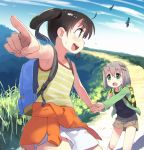 2girls :d :o ahoge arm_up armpits backlighting backpack bag bangs bare_arms beige_skirt bird blue_sky blurry blush_stickers brown_hair bush chromatic_aberration clothes_around_waist clouds collarbone cowboy_shot day depth_of_field eye_contact eyebrows_visible_through_hair eyes_visible_through_hair film_grain fingernails flying_sweatdrops foreshortening from_side gradient_sky grass green_eyes green_jacket grey_hair hair_between_eyes hair_ornament hairclip hand_up hands_up highres holding_hands jacket jacket_around_waist kuraue_hinata leg_lift long_sleeves looking_at_another looking_to_the_side minawa multiple_girls nature open_clothes open_jacket open_mouth outdoors outline path pointing profile round_teeth scenery shiny shiny_hair short_hair shorts sideways_mouth skirt sky smile striped striped_tank_top sweat tank_top tareme teeth twintails upper_teeth violet_eyes walking white_outline white_shorts yama_no_susume yellow_tank_top yukimura_aoi