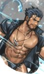 1boy abs absurdres bara beard blue_eyes blue_hair body_hair bulge chest chest_hair facial_hair highres jang_ju_hyeon looking_at_viewer male_focus male_swimwear manly muscle navel nipples pectorals shirtless simple_background smile solo swim_briefs swimwear thick_thighs thighs tokyo_houkago_summoners triton_(tokyo_houkago_summoners) upper_body water