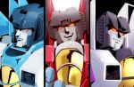 3boys close-up decepticon glowing glowing_eyes looking_ahead looking_down multiple_boys no_humans red_eyes skywarp smile smirk somali starscream thundercracker transformers