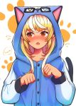 1girl alternate_hairstyle animal_hood blonde_hair blue_sweater blush cat_hood cat_tail commentary dark_skin doubutsu_no_mori embarrassed eyebrows_visible_through_hair fang highres hololive hood hoodie jack_(doubutsu_no_mori) long_hair long_sleeves looking_away looking_to_the_side multicolored_hair open_mouth paw_pose paw_print_background red_eyes sasaki_(glass1138) shiranui_flare sidelocks solo streaked_hair sweatdrop sweater tail two-tone_hair upper_body white_hair
