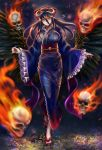 1girl 910pan albedo black_hair black_wings blue_kimono breasts demon_girl demon_horns feathered_wings flaming_skull flip-flops floating_skull full_body hair_between_eyes hair_ribbon highres horns japanese_clothes kimono large_breasts long_hair long_sleeves looking_at_viewer obi overlord_(maruyama) print_kimono red_ribbon ribbon sandals sash skull smile solo standing standing_on_one_leg wide_sleeves wings yellow_eyes yukata