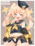+_+ 1girl :3 :d anchor_symbol ass_visible_through_thighs azur_lane bache_(azur_lane) bangs bare_shoulders belt black_headwear black_sailor_collar black_shirt blonde_hair blunt_bangs blush breasts brown_background brown_belt character_name clothes_writing collar commentary_request copyright_name covered_nipples cowboy_shot crop_top cutoffs denim denim_shorts dollar_sign eyebrows_behind_hair fang fur-trimmed_jacket fur_trim hat highres jacket long_hair looking_at_viewer micro_shorts midriff navel off-shoulder_jacket open_fly open_mouth pink_collar saekiya_sabou sailor_collar sailor_hat shirt shorts sidelocks sleeveless sleeveless_shirt small_breasts smile solo standing twitter_username two_side_up violet_eyes yellow_jacket