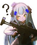 1girl ? assault_rifle bangs commentary_request expressionless eyebrows_visible_through_hair facial_mark girls_frontline green_eyes gun hair_ornament hat highres hironii_(hirofactory) hk416_(girls_frontline) holding holding_weapon long_hair long_sleeves open_mouth rifle silver_hair solo weapon younger