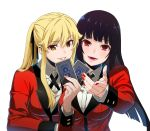 2girls black_hair blonde_hair brown_eyes card commentary eyebrows_visible_through_hair fingernails highres holding jabami_yumeko jewelry kakegurui long_fingernails long_hair looking_at_viewer multiple_girls nyoro_(nyoronyoro000) playing_card ring saotome_meari school_uniform smirk twintails white_background