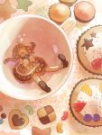 1girl :d brown_hair candy_hair_ornament chanosuke closed_eyes cookie cup cupcake dress food food_themed_hair_ornament hair_ornament heart idolmaster idolmaster_cinderella_girls in_container in_cup long_hair minigirl moroboshi_kirari open_mouth smile solo teacup twintails