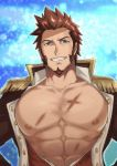 1boy abs bara beard blue_eyes brown_hair bursting_pecs chest collar cropped_torso epaulettes facial_hair fate/grand_order fate_(series) fringe_trim goatee hands_on_hips highres jacket long_sleeves looking_at_viewer male_focus military military_uniform muscle napoleon_bonaparte_(fate/grand_order) niichi21 nipples open_clothes open_jacket open_shirt pectorals scar sideburns simple_background smile solo unbuttoned uniform