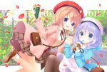 2girls :d aono_ribbon bag beret black_ribbon blue_eyes blue_hair blue_jacket blush braid brown_footwear brown_hair brown_legwear brown_skirt coat collared_shirt commentary_request copyright_name crepe cup disposable_cup dress dress_shirt drinking_straw food gochuumon_wa_usagi_desu_ka? hair_over_shoulder hat holding holding_cup holding_food hoto_cocoa jacket kafuu_chino long_hair long_sleeves looking_at_viewer multiple_girls neck_ribbon open_clothes open_coat open_mouth pantyhose petals pink_coat plaid plaid_skirt pleated_skirt red_headwear ribbon shirt shoe_soles shoes shoulder_bag skirt sleeves_past_wrists smile socks twin_braids twitter_username very_long_hair violet_eyes white_dress white_headwear white_legwear white_shirt