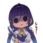 1girl @_@ absurdres ahoge blue_dress dress empty_eyes eyebrows_visible_through_hair glint highres hinatsuru_ai holding holding_knife juliet_sleeves knife long_hair long_sleeves low_twintails neck_ribbon puffy_sleeves purple_hair ribbon ryuuou_no_oshigoto! shiny shiny_hair shirabi smile solo twintails two-handed upper_body white_background wide-eyed yandere yellow_neckwear yellow_ribbon