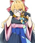 1girl ;) alternate_costume artist_name bangs black_gloves blonde_hair bow braid commentary_request cowboy_shot glasses gloves hair_bow hair_ribbon hakama half_updo highres japanese_clothes jill_07km kirisame_marisa long_hair looking_at_viewer one_eye_closed ribbon simple_background single_braid smile solo touhou white_background wide_sleeves yellow_eyes