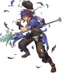 1boy alternate_costume belt boots feathers fingerless_gloves fire_emblem fire_emblem:_the_binding_blade fire_emblem_heroes full_body geese_(fire_emblem) gloves hat hat_removed headband headwear_removed highres long_hair official_art open_mouth pirate_hat polearm purple_hair solo spear teeth torn_clothes transparent_background violet_eyes weapon