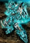 blue_eyes blue_fire clenched_hands fighting_stance fire from_above garimpeiro glowing glowing_eyes highres looking_up mecha no_humans original solo
