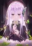 >:) 1girl animal bangs black_capelet black_dress blush brown_eyes bug butterfly butterfly_hair_ornament capelet closed_mouth commentary_request dress echidna_(re:zero) eyebrows_visible_through_hair flower hair_between_eyes hair_ornament hands_up highres holding holding_flower hyonee insect long_hair long_sleeves looking_at_viewer purple_hair re:zero_kara_hajimeru_isekai_seikatsu smile solo upper_body v-shaped_eyebrows white_flower