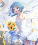 1girl :o absurdres armpit_crease bare_arms bare_shoulders blue_bow blue_eyes blue_hair blurry blush bouquet bow breasts clouds cloudy_sky collarbone commentary cowboy_shot depth_of_field dress eyelashes field floating_hair flower frilled_dress frills hair_tie hand_to_head hand_up hat hat_flower hat_loss highres hololive hoshimachi_suisei keis_(locrian1357) leaf legs_together light_particles looking_at_viewer medium_hair open_mouth outdoors petals red_flower ribbon round_teeth rubber_band shiny shiny_hair sidelocks sky sleeveless sleeveless_dress small_breasts smile solo spaghetti_strap standing straw_hat sun_hat sundress sunflower teeth twilight upper_teeth virtual_youtuber white_dress white_flower white_ribbon wind wind_lift