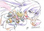 1girl ayame_(gundam_build_divers) chibi colored_pencil_(medium) dated fingers_together green_eyes gundam gundam_build_divers highres irikodashig long_hair looking_at_viewer mecha ninja ninja_mask purple_hair rx-zeromaru traditional_media v-shaped_eyebrows violet_eyes