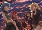 5girls akemi_homura black_hair blonde_hair blue_hair clouds cloudy_sky glowing glowing_eyes kaname_madoka long_hair looking_at_viewer mahou_shoujo_madoka_magica miki_sayaka multiple_girls pink_hair red_eyes redhead sakura_kyouko short_hair sky sunset tomoe_mami touyu_(yuruyuruto)