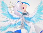 1girl angel_wings bangs blue_hair blush closed_mouth from_behind grey_background hair_ornament halo highres jacket lize_helesta long_hair long_sleeves looking_at_viewer looking_back multicolored_hair nijisanji sasao_(sanbakoara) silver_hair simple_background solo two-tone_hair upper_body violet_eyes virtual_youtuber white_jacket wings