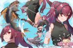 2girls animal_ears bandaged_arm bandages blonde_hair blush covered_navel cross_scar erune fish granblue_fantasy grey_hair heart highres kicking konkitune803 leotard mari_(granblue_fantasy) meg_(granblue_fantasy) motion_blur multicolored_hair multiple_girls ponytail purple_hair red_eyes scar shark single_thighhigh smile thigh-highs translation_request two-tone_hair