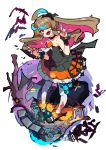 1girl absurdres ahoge animal_hair_ornament bare_shoulders bird black_dress blood blood_on_leg brown_hair claw_pose coffin collarbone commentary_request dress ear_piercing fang hair_over_one_eye highres jack-o'-lantern jewelry kurumitsu long_hair mary_janes mouse multicolored_hair open_mouth original piercing pink_eyes pumpkin red_nails ring shoes skull strapless strapless_dress tongue tongue_out twintails white_legwear wrist_cuffs