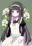 1girl absurdres akemi_homura alternate_costume apron bangs black_hair black_shirt blush closed_mouth collared_shirt enmaided flower green_background hair_ribbon highres kneeling long_hair long_sleeves mahou_shoujo_madoka_magica maid maid_headdress nanahosiryuuki neck_ribbon purple_ribbon ribbon shiny shiny_hair shirt solo very_long_hair violet_eyes white_apron white_flower wing_collar