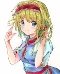 1girl absurdres alice_margatroid arms_up blonde_hair blue_dress blue_eyes capelet commentary_request dress eyebrows_visible_through_hair hairband hand_in_hair highres ikazuchi_akira index_finger_raised lolita_hairband looking_at_viewer neck_ribbon partial_commentary red_neckwear ribbon sash shiny shiny_hair short_hair short_sleeves simple_background smile solo standing touhou upper_body white_background white_capelet