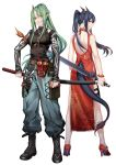 2girls alternate_costume arknights back_cutout bangs bare_shoulders belt black_footwear blue_hair blue_pants boots breasts cargo_pants ch'en_(arknights) china_dress chinese_clothes dragon_horns dragon_tail dress facial_scar green_hair grin hair_between_eyes high_heels holding holding_sword holding_weapon horns hoshiguma_(arknights) iceky large_breasts long_hair looking_at_viewer multiple_girls oni_horns oni_mask pants ponytail red_eyes red_footwear scar scar_on_cheek shirt shorts sidelocks single_horn smile sword tail tail_cutout thighs weapon