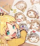 :d blonde_hair character_request charlotte_izoard child_drawing crayon drawing eyebrows_visible_through_hair from_above from_behind green_eyes holding long_hair long_sleeves looking_at_viewer looking_back looking_up open_mouth paper ryuuou_no_oshigoto! shirabi shirt smile star_(symbol) two_side_up yellow_shirt