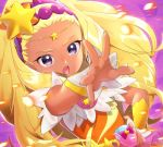 1girl blonde_hair blurry_foreground circlet cure_soleil dark_skin earrings floating_hair hair_ornament hairband hand_on_hip highres jewelry long_hair looking_at_viewer nail_polish open_mouth outstretched_arm precure purple_background purple_hairband shiny shiny_hair solo star_(symbol) star_hair_ornament star_twinkle_precure upper_body very_long_hair violet_eyes yellow_nails yupiteru