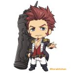 1boy bangs beard blue_eyes brown_hair cannon chest chibi collar epaulettes facial_hair fate/grand_order fate_(series) fringe_trim full_body goatee huge_weapon jacket long_sleeves looking_at_viewer male_focus muscle napoleon_bonaparte_(fate/grand_order) open_clothes open_jacket open_shirt pants pectorals scar sideburns solo torakichi_(ebitendon) weapon white_background
