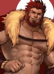 1boy abs bara beard body_hair cape chest chest_hair facial_hair fate/zero fate_(series) highres iskandar_(fate) jang_ju_hyeon leather looking_at_viewer male_focus manly muscle nipples pectorals red_eyes redhead shirtless simple_background smile solo