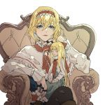 1girl alice_margatroid black_legwear blonde_hair blue_dress blue_eyes capelet chair chin_rest commentary doll dress eyebrows_visible_through_hair eyelashes hair_between_eyes hairband highres jewelry kaoru_(alicemakoto) lips long_sleeves looking_at_viewer multiple_rings nail_polish parted_lips red_nails red_ribbon ribbon ring shanghai_doll short_hair simple_background sitting smile touhou white_background white_capelet