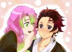 1boy 1girl :d black_kimono blush braid brown_eyes brown_hair collarbone commentary_request earrings embarrassed forehead_scar gradient_hair green_eyes green_hair hair_over_shoulder hanafuda japanese_clothes jewelry kamado_tanjirou kanroji_mitsuri kimetsu_no_yaiba kimono mole mole_under_eye multicolored_hair open_mouth pink_hair san_mon smile sweatdrop twin_braids upper_body