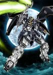 beam_scythe clenched_hands garimpeiro glowing glowing_eyes green_eyes gundam gundam_deathscythe_hell gundam_wing highres holding holding_scythe looking_down mecha mechanical_wings moon multiple_wings no_humans scythe v-fin wings