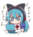 1girl ayasaki_yuu_(band_brothers) bangs black_bow blue_eyes blue_hair blush bow closed_mouth collared_shirt cropped_torso daigasso!_band_brothers eyebrows_visible_through_hair gloves hair_between_eyes hair_bow handheld_game_console headphones holding long_hair naga_u neck_ribbon puffy_short_sleeves puffy_sleeves red_ribbon ribbon shirt short_sleeves simple_background solo translation_request upper_body v-shaped_eyebrows white_background white_gloves white_shirt